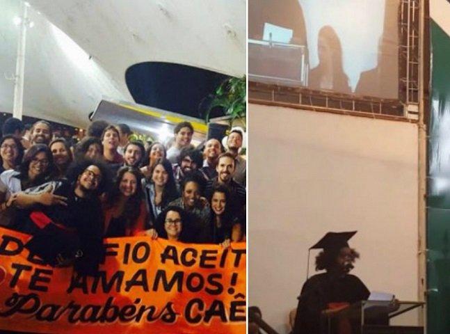 Assista ao emocionante discurso  de Marcelo Caetano, primeiro  formando trans e negro da UnB