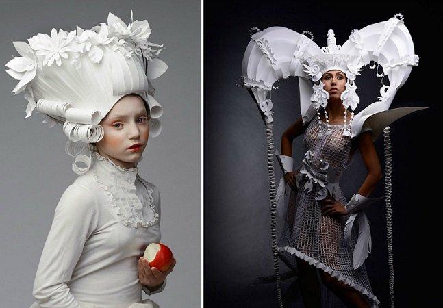 Artista russa cria perucas impressionantes feitas apenas de papel