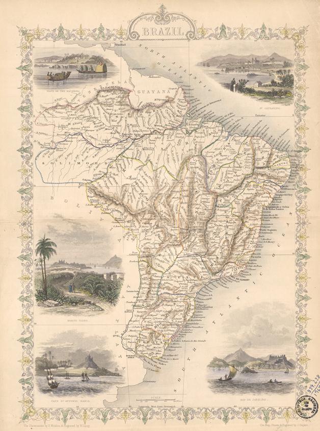 Mapa do Brasil, feito John Rapkin em 1851