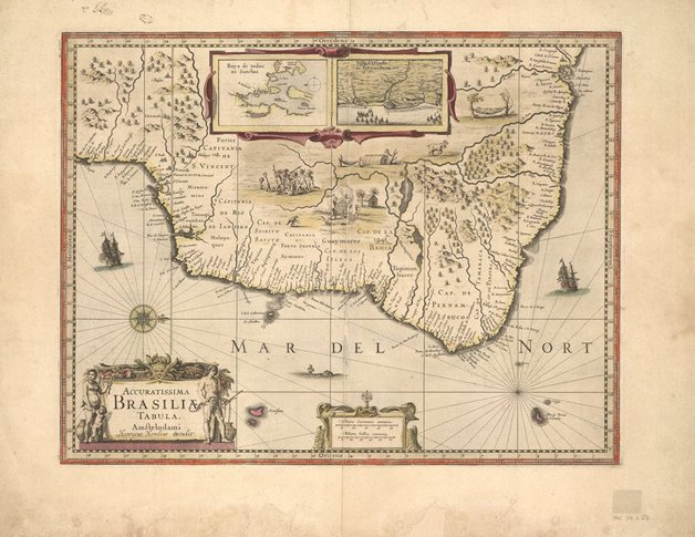 Mapa do estado da Bahia, de 1630, feito por Henricus Hondius, cartógrafo holandês