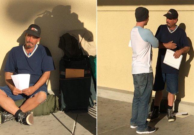Ao invés de pedir dinheiro, esse  morador de rua decidiu entregar seu  currículo; e não é que deu certo?