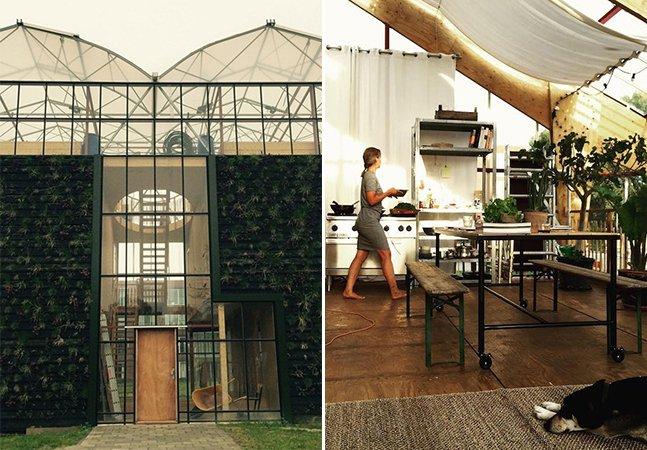 Família aceita desafio de morar em uma incrível casa sustentável dentro de uma estufa gigante