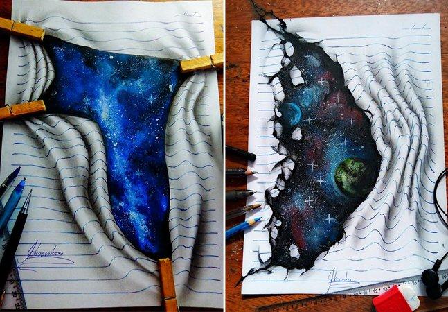 Artista brasileiro de 16 anos  cria incríveis ilustrações 3D em folhas de caderno
