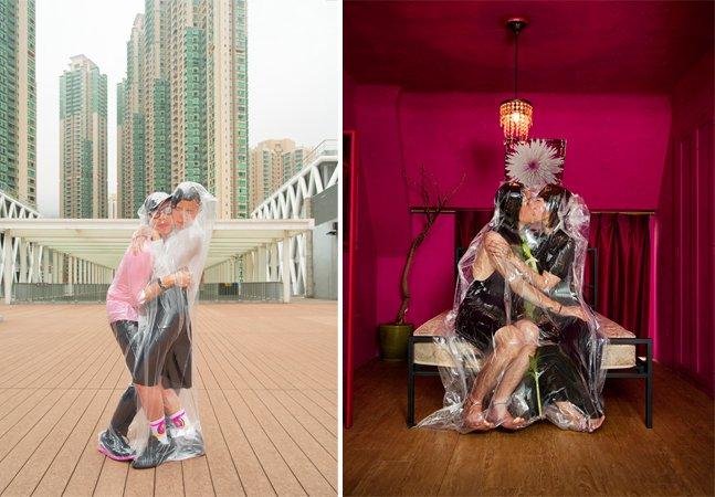 Fotógrafo clica casais embalados a vácuo para mostrar como o amor nos faz inteiros