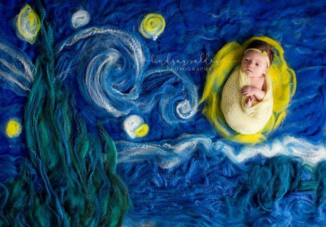 Fotógrafa recria famosas obras de arte  com cliques de bebês recém nascidos