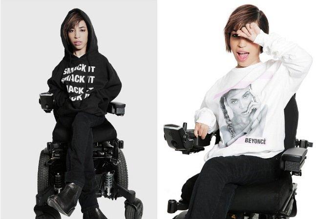 Beyoncé escolhe modelo  que usa cadeira de rodas para  a nova campanha de sua marca