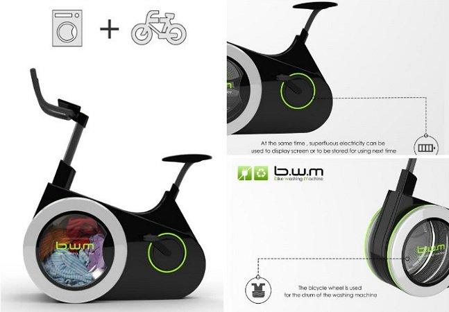 Estudantes chineses projetam  bike inovadora que permite lavar  suas roupas enquanto pedala