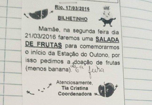 Mãe envia bilhete a professora do filho no RJ e lança debate sobre cuidados parentais