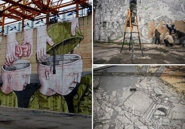 Por que o grafiteiro Blu apagou  seus trabalhos dos muros?