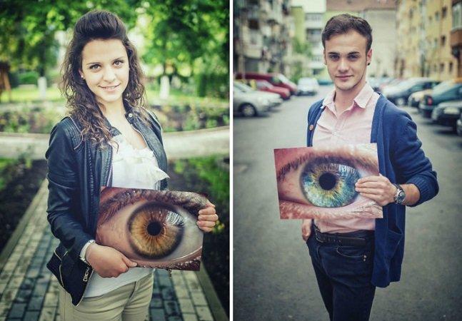 Projeto fotográfico retrata olhos  humanos ao lado de seus donos;  ou seria o contrário?