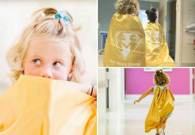 Menina lança movimento incrível ao levar capa de super-herói pra quimioterapia pra se sentir mais forte
