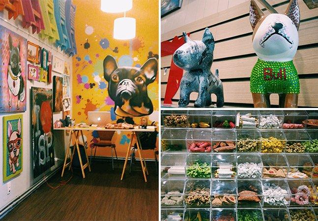 Galeria Pet mistura arte, loja e padaria para cães e gatos em SP