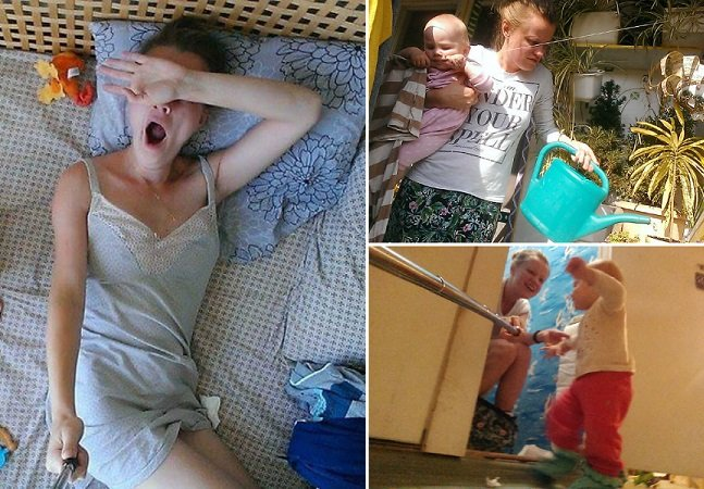 Mulher usa pau de selfie para documentar a rotina de uma mãe