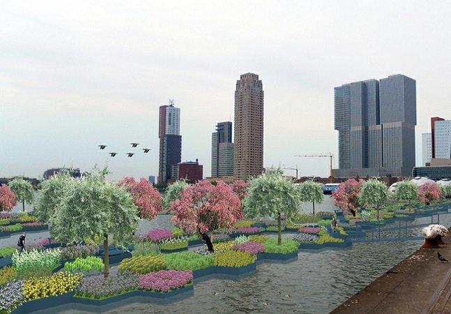 O projeto desse parque  urbano flutuante feito com  resíduos plásticos é inspirador