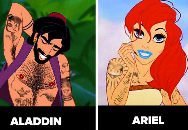 Como seriam as princesas e príncipes  da Disney se eles fossem tatuados  e usassem maquiagens diferentonas