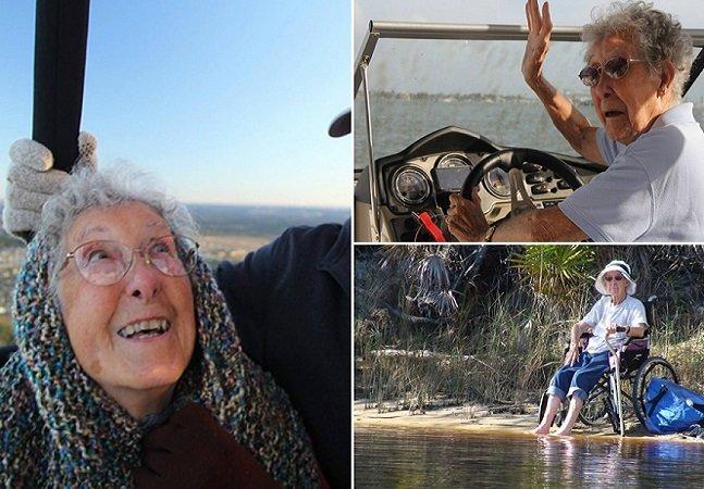 Senhora de 91 anos troca quimioterapia por botar o pé na estrada e curtir a vida