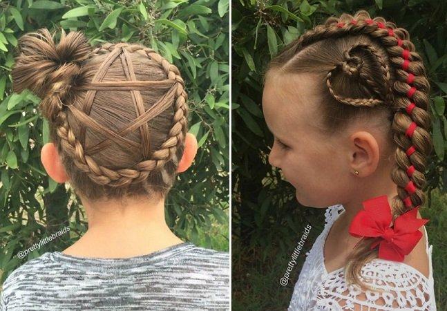 Mãe cria verdadeiras obras  de arte ao pentear os cabelos  da filha para ir à escola