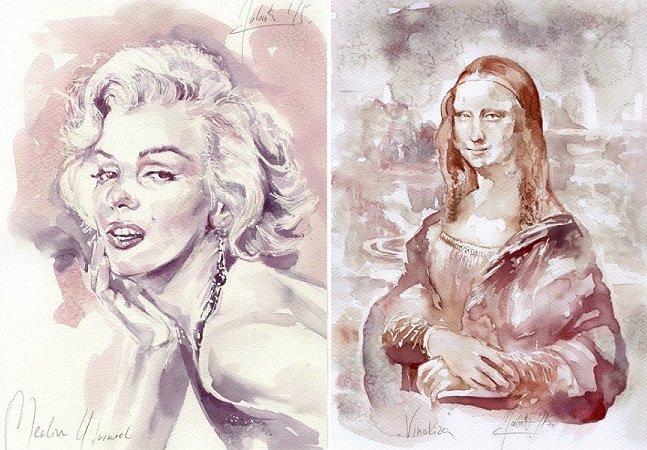 Artista recria pinturas clássicas  usando vinho tinto