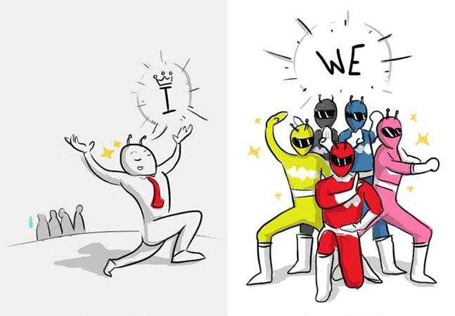 Série de ilustrações mostra a diferença entre um chefe e um líder