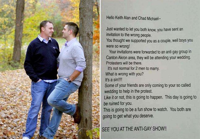 A triste resposta que esse  casal gay recebeu a um de  seus convites de casamento