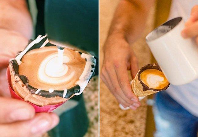 A nova moda é tomar um café na casquinha de um sorvete – e é irresistível