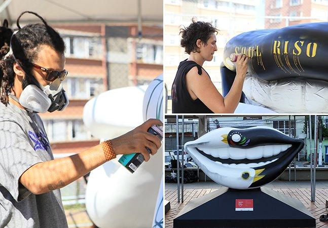 Artistas transformam esculturas de sorrisos gigantes em incríveis obras de arte que invadem capitais brasileiras