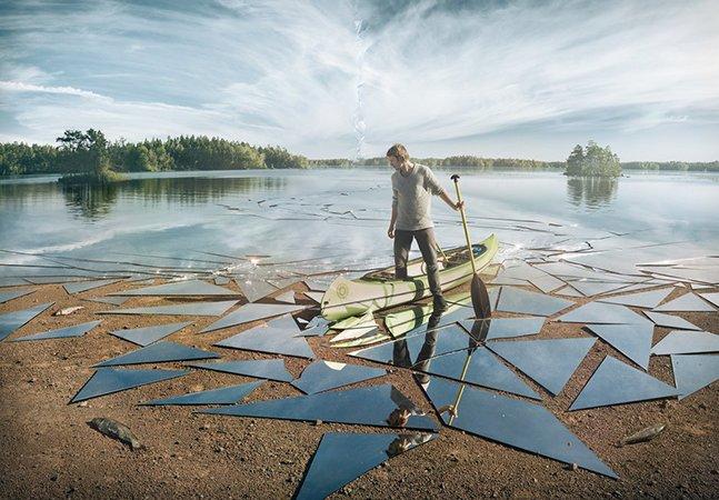 Artista usa 17 m² de espelho e muito talento no Photoshop para criar imagem incrível