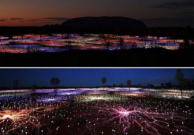 Artista usa 50 mil lâmpadas solares para criar iluminação mágica em deserto australiano