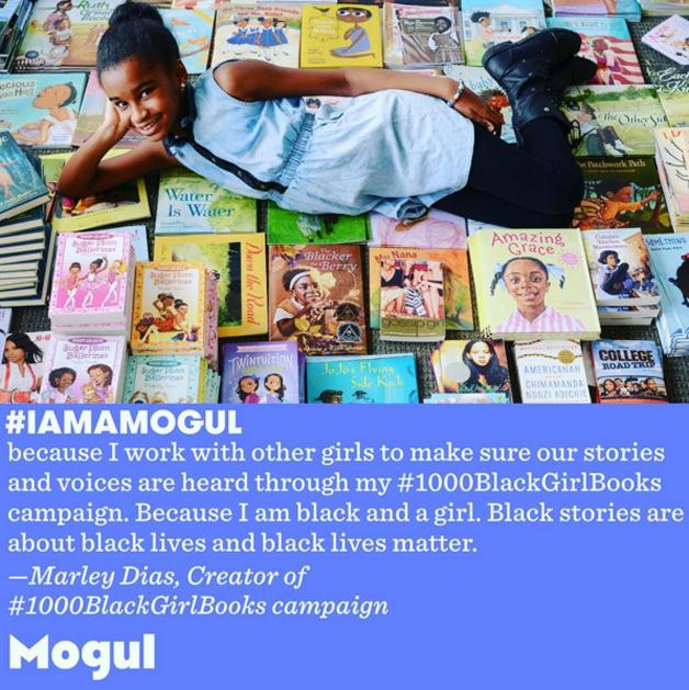 """""""Eu sou importante porque trabalho com outras garotas para garantir que suas histórias e vozes sejam ouvidas através da minha campanha 1000 livros de garotas negras. Porque sou negra e sou uma garota. Histórias negras são sobre vidas negras e vidas negras importam""""."""