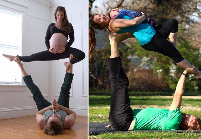 Casal faz poses de yoga fascinantes desde o começo da gravidez até o nascimento do bebê