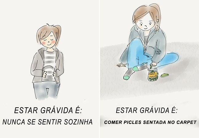 Mulher cria série de ilustrações para mostrar pra sua futura filha como é estar grávida