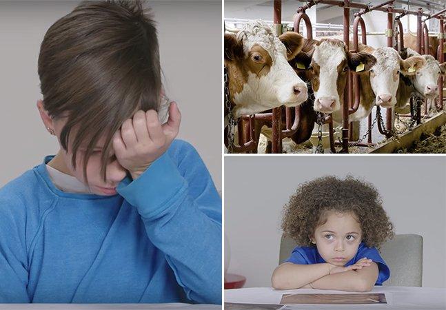 Vídeo comovente mostra a reação de crianças ao verem fotos de animais criados pela indústria