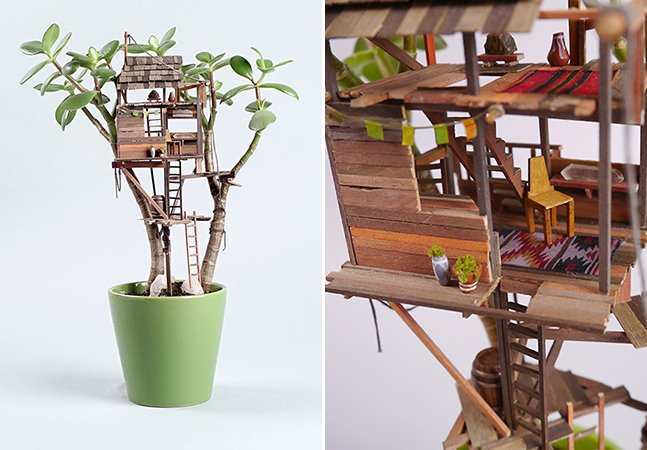 Artista decora seus vasos com incríveis e detalhadas casas na árvore em miniatura
