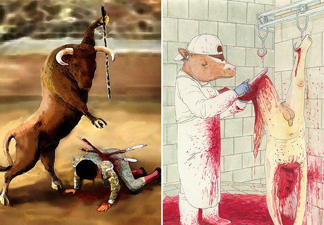 Série de ilustrações troca animais por pessoas para mostrar como eles se sentem