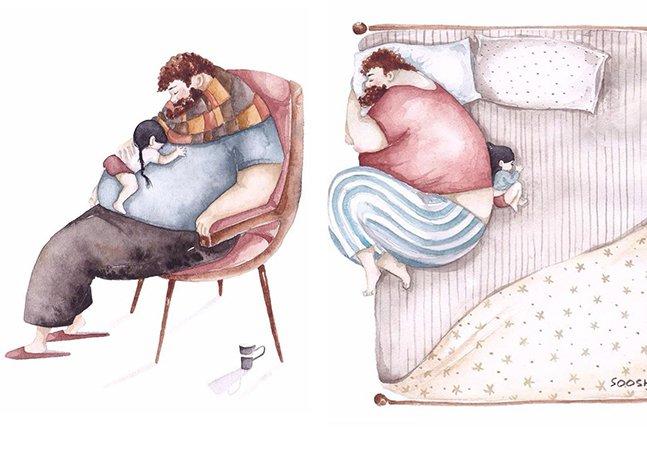 Série de ilustrações retrata o amor e a ligação única entre pais e suas filhas pequenas