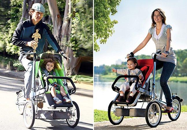 O carrinho de bebê que vira bicicleta em 20 segundos é perfeito para pais e filhos