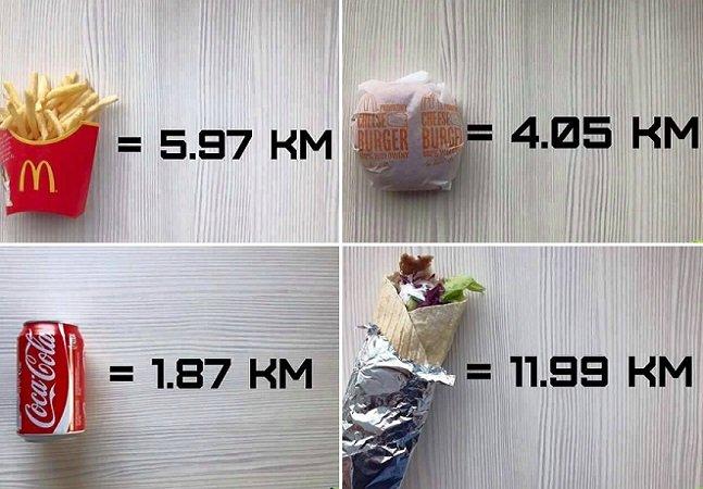 Série de imagens mostra quanto você tem que correr para queimar cada gostosura que ingere