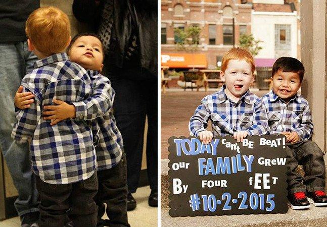 Imagens emocionantes registram  o dia em que crianças  e jovens são adotados