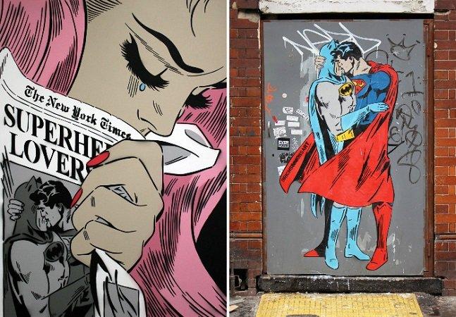 Contra a homofobia, Superman  e Batman se beijam em graffiti