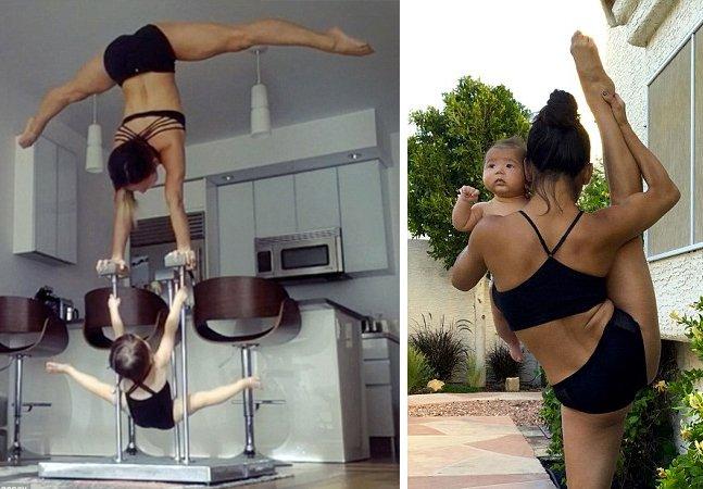 Linda série mostra artista  (ex-Cirque du Soleil) desafiando a  gravidade em casa com seus filhos