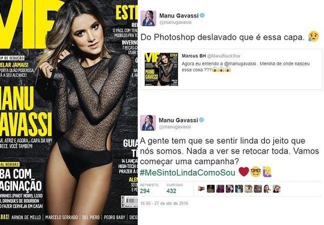Cantora Manu Gavassi critica excesso de  photoshop em capa de revista e lança campanha #MeSintoLindaComoSou