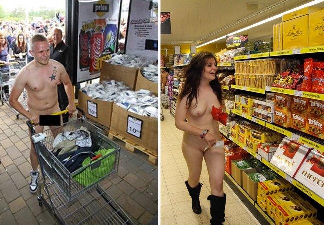 Supermercado alemão faz sucesso ao oferecer produtos grátis para quem fizesse compras pelado