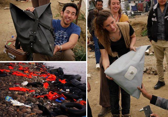 Estudante cria mochilas para ajudar refugiados feitas a partir dos coletes e botes descartados por eles