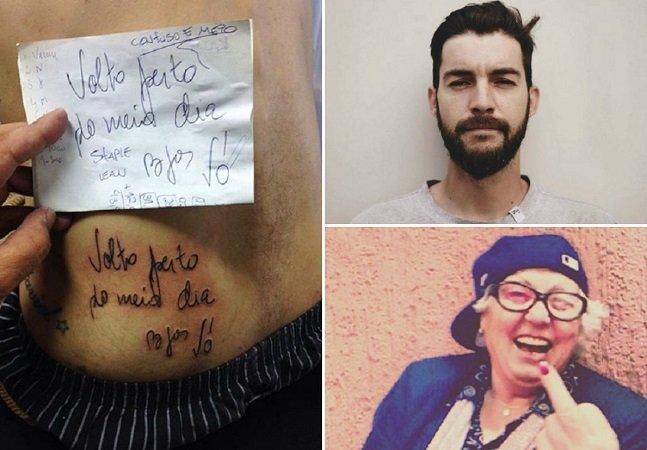 Esse cara tatuou o último  recado que a avó deixou  para ele antes de falecer