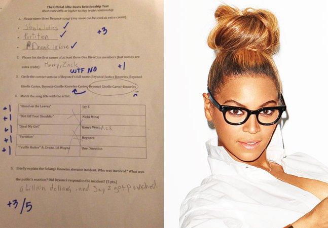 Ela obrigou o namorado a  fazer uma prova sobre Beyoncé  para continuarem juntos