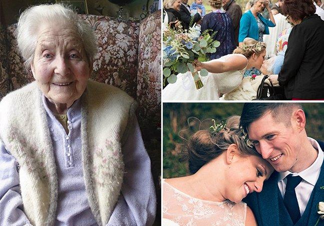 Senhora de 100 anos inova  e arrasa como dama de  honra no casamento da neta