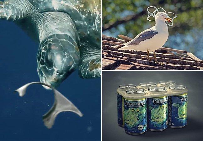 Marca de cerveja cria embalagens comestíveis que alimentam animais marinhos, ao invés de os matar
