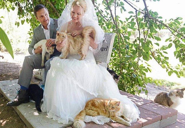 Casal dispensa convidados humanos e celebra casamento em santuário com 1100 gatos