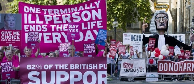 Manifestações na Inglaterra, a favor e contra a eutanásia