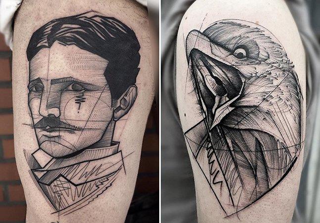 Tatuador brasileiro mistura traços delicados e blackwork pra mostrar a beleza da dualidade